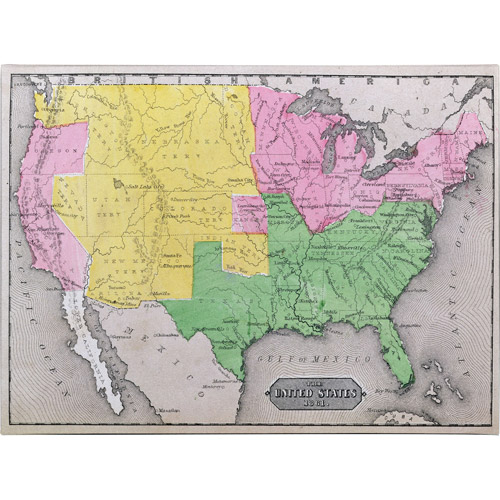 Trademark Art 'Map of the United States in 1861' Canvas Art