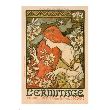 French Ad Poster - The Hermitage Vintage Ad Poster Paul Berthon France 1897 24X36 Art Nouveau