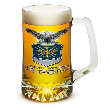 Beer Mugs with Handles – US Air Force 25 oz Tankard Beer Mug – USAF Veterans Gifts for Men or Women – Air Force USAF Missle Beer Glass with Logo - Set of 4 (25 Ounces)