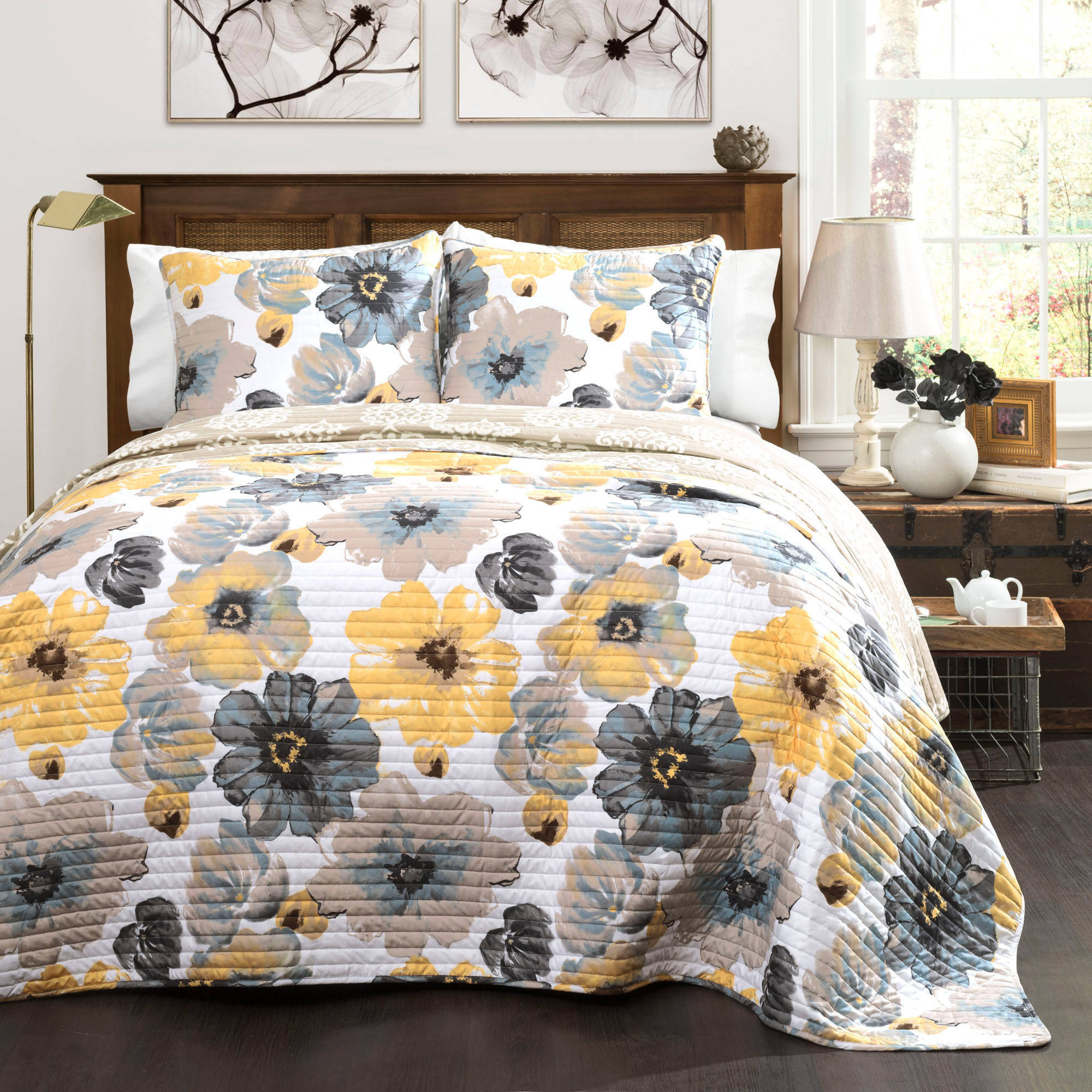 Leah Quilt 3-Piece Set, Yellow and Gray