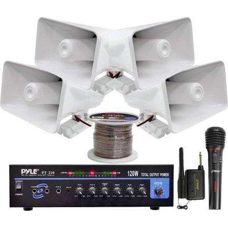 Pa Mixer Amplifier - Pyle KTHSP330 120 W PA Amplifier System with Horn Speakers (White)