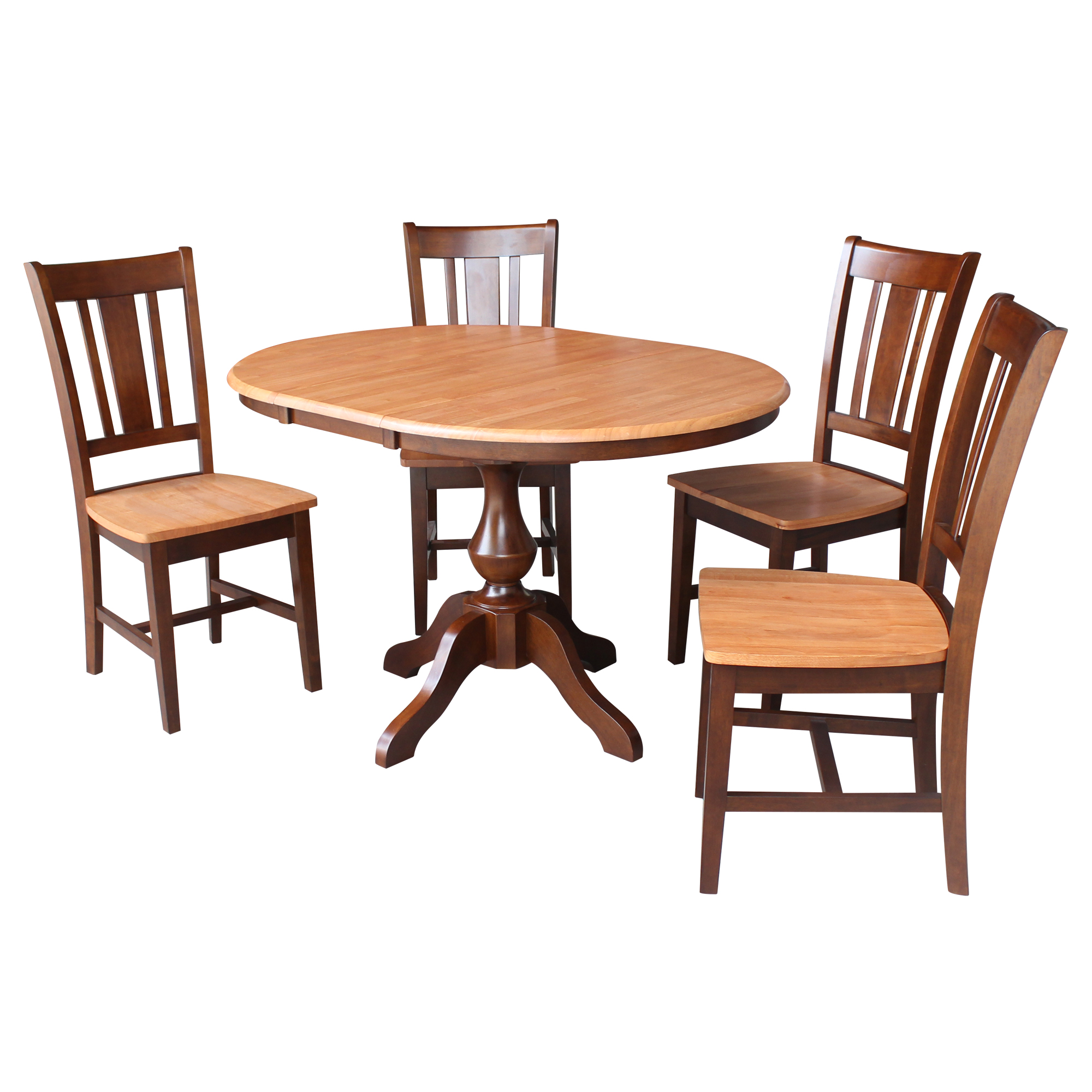"36"" Round Top Dining Table with 4 San Remo Chairs - Cinnamon/Espresso- 5 Piece Set"