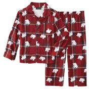 Joe Boxer Infant & Toddler Boys Red Plaid Bear 2-Piece Flannel Pajama Set