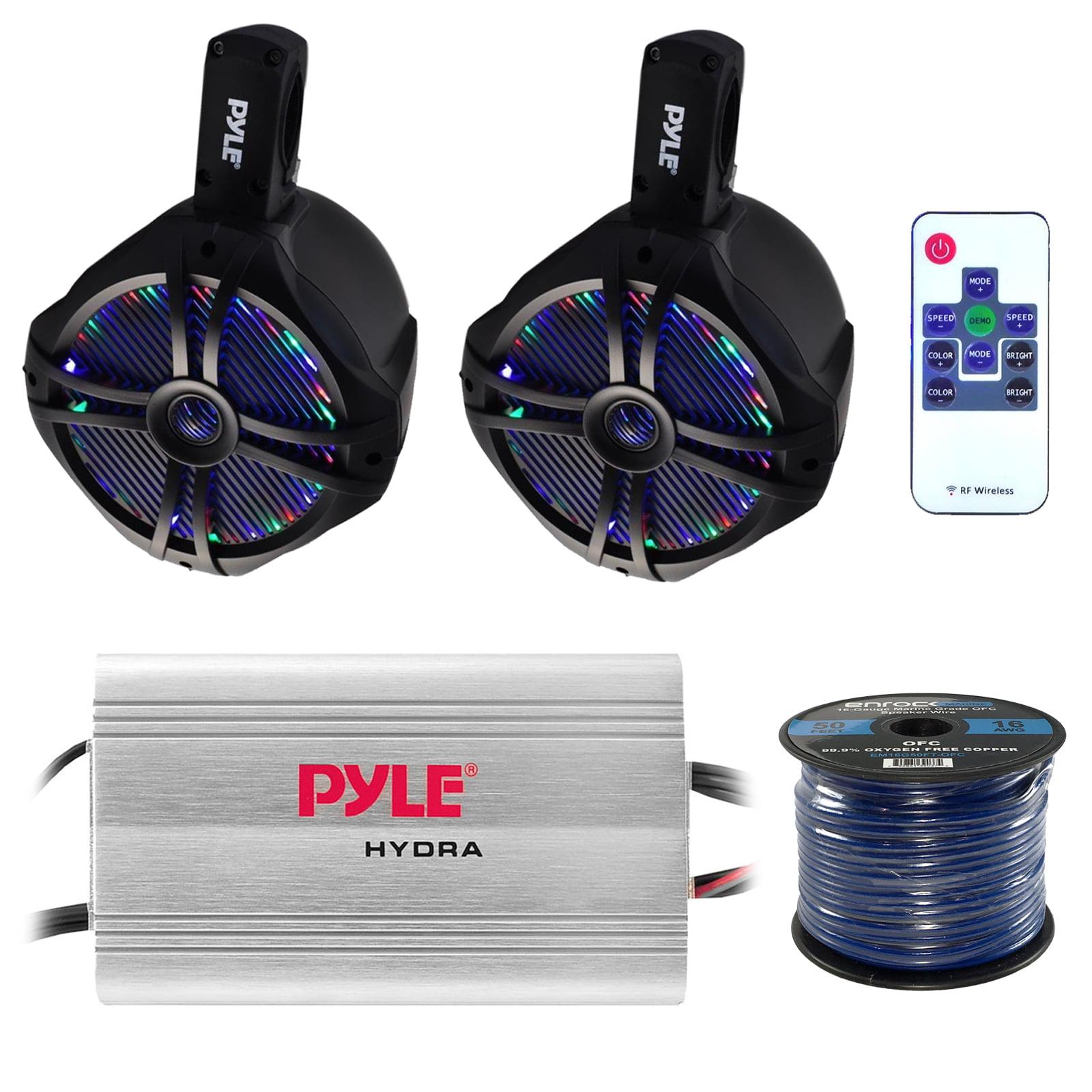 """Marine Speaker And Amp Combo: Pyle PLMRMP3A 4 Channel 1200 Watt Waterproof  MP3 Power Amplifier Bundle With 2x 8"""" 260W Wakeboard Waterproof LED Light  Tower ..."""