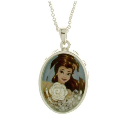 Disney Beauty & the Beast Bell Silver Plated Floating Crystals Shaker Pendant w/Chain