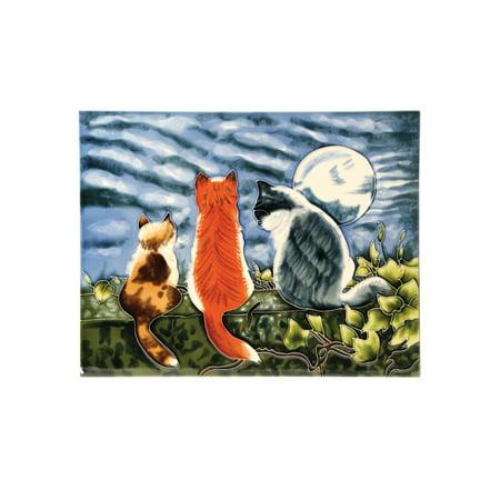 Benaya Art Ceramics Cat Whispers Art Tile - Decorative Ceramic Tile Wall Art Easel Back, 12
