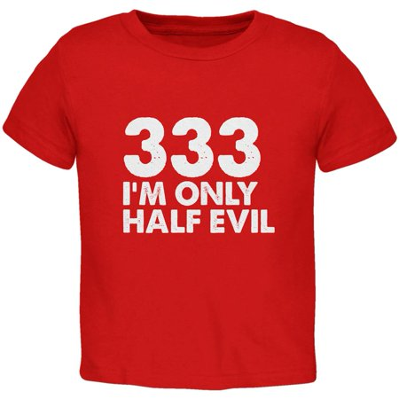 Halloween 333 Half Evil Red Toddler T-Shirt (Half And Half Halloween Makeup)