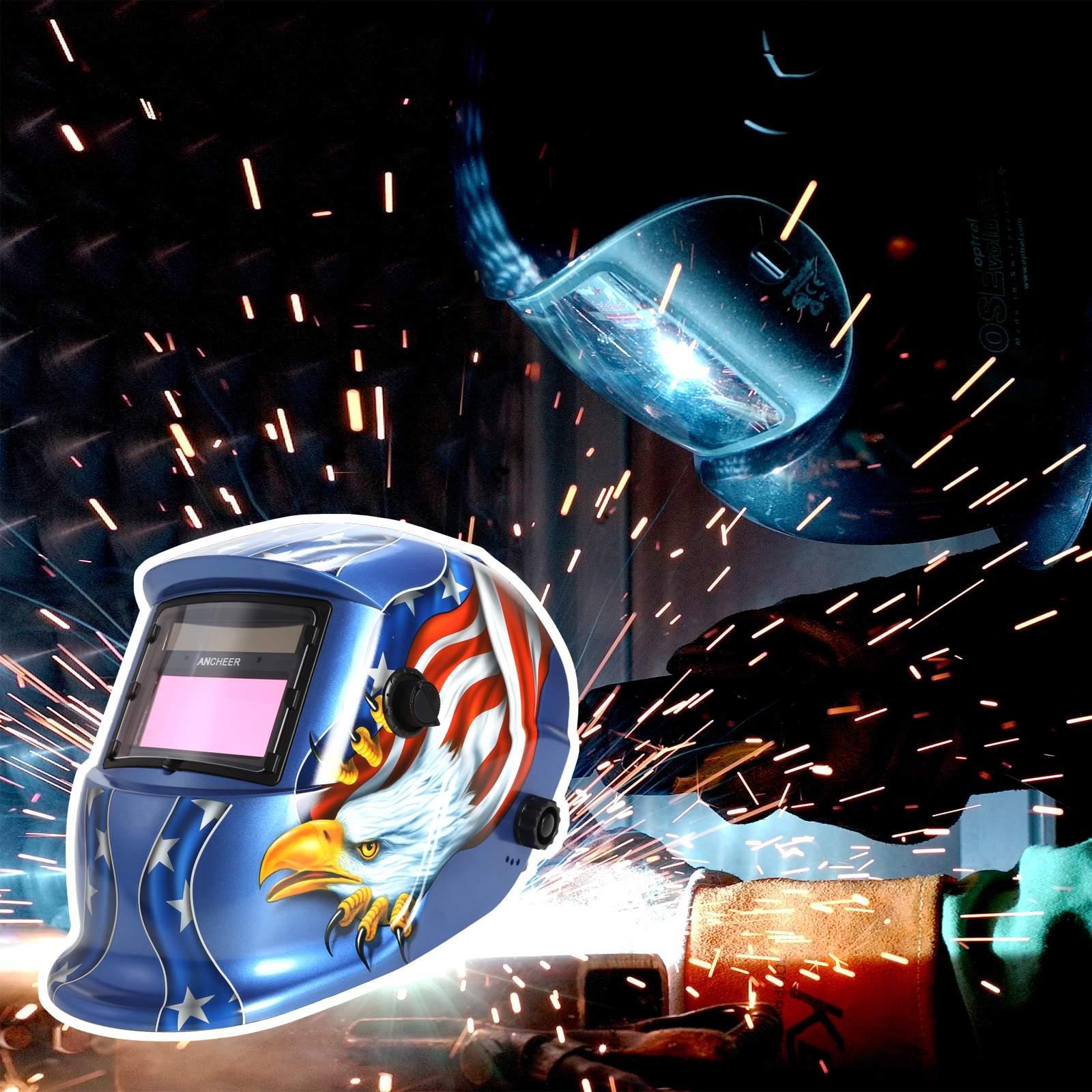 Solar Powered Welding Helmet Auto Darkening Hood with Adjustable Shade For Mig Tig Arc Welder Mask Blue EaglePattern by
