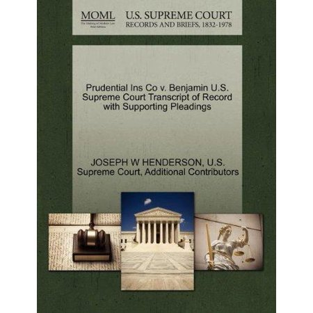 Prudential Ins Co V  Benjamin U S  Supreme Court Transcript Of Record With Supporting Pleadings