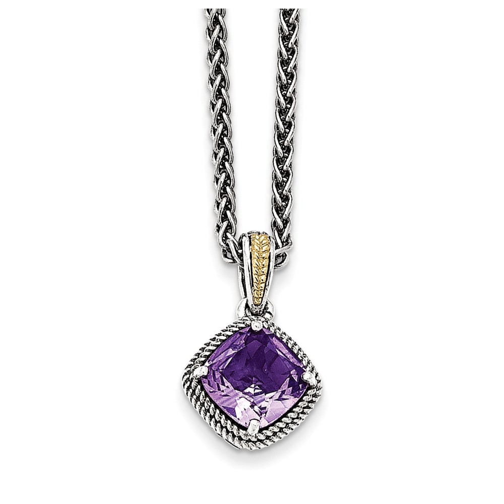 "14K Gold and 925 Sterling Silver with Antiqued Amethyst Necklace -18"" (18in x 2mm) by"