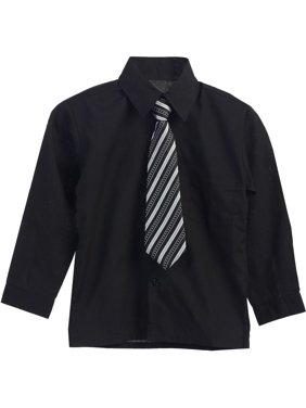 9b81fefa4 Product Image Little Boys Black Stripe Tie Long Sleeve Button Special  Occasion Shirt 2T-7