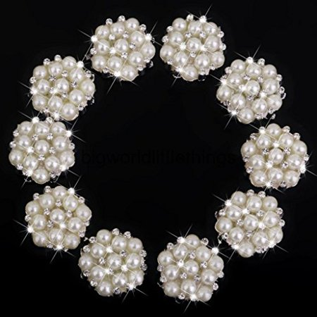 Faux Pearl Button - Winnerbeen 10pcs Rhinestone Faux Pearl Flower Embellishments Button Flatback 22mm