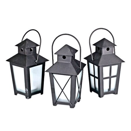 "Gerson 39228 - 3"" x 5.5"" Black Metal Mini Lantern with Color Changing and Amber LED Tealight Candle Light (3 pack) with Timer"