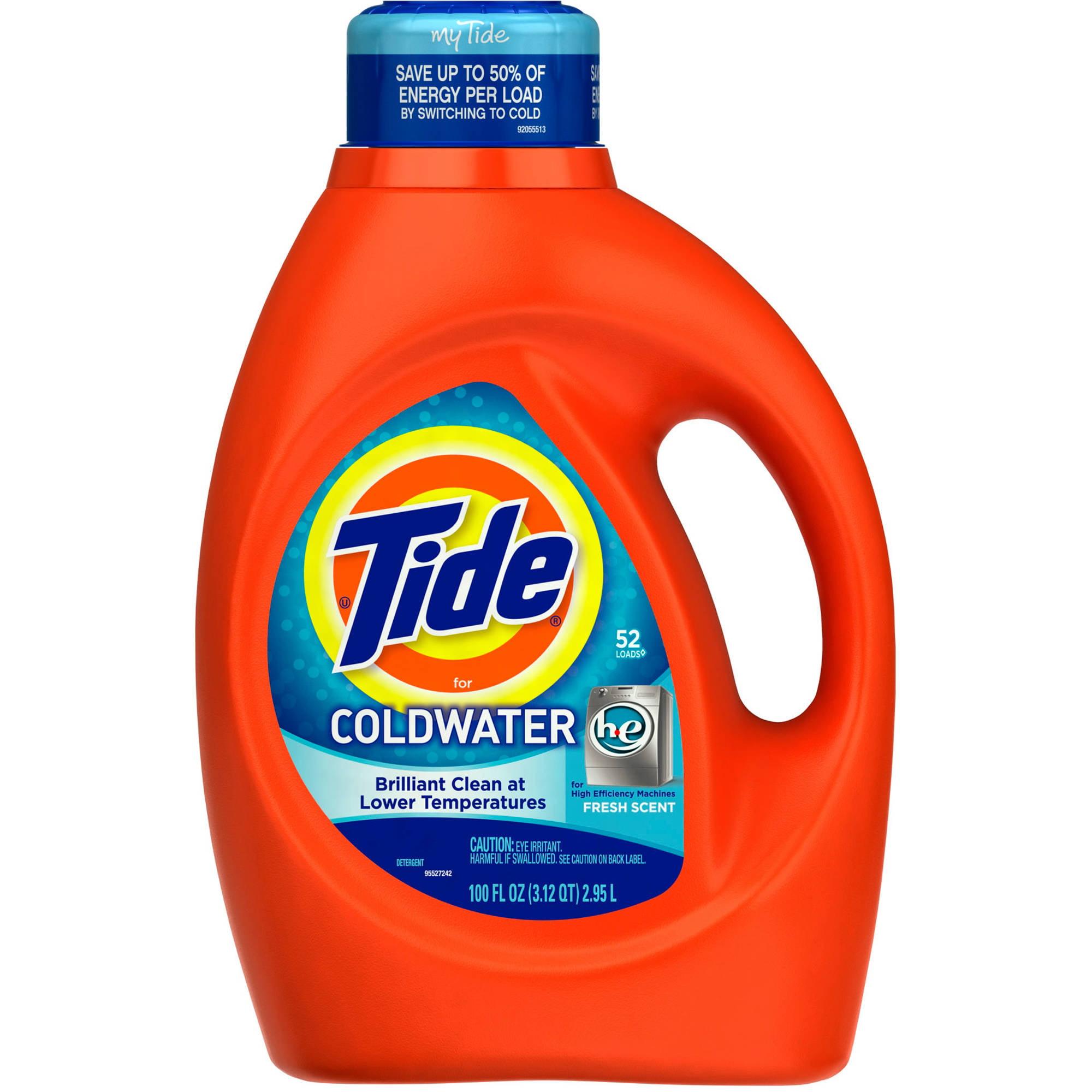 Tide Liquid Detergent, Coldwater For HE Machines, Fresh Scent, 52 Loads 100 fl oz