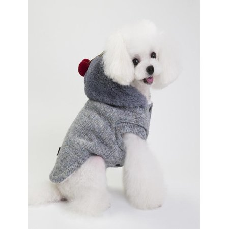 Pet Dog Cotton Coat With Hat Cute Little Cherry Pendant Autumn And -