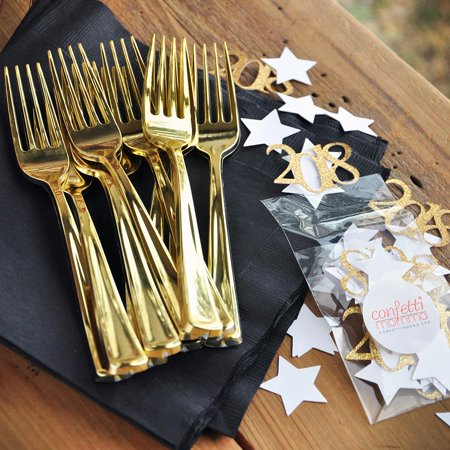 Black and Gold Graduation Napkins and Forks Set for 10. Black Napkins, Gold Forks and Confetti. Graduation Napkins 2018. - Black And Gold Napkins