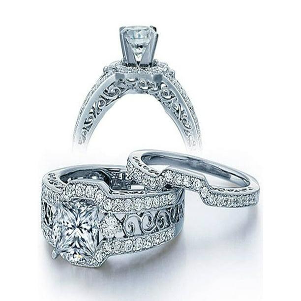 Jeenjewels 2 Carat Princess Cut Diamond Vintage Wedding Ring Set In White Gold Walmart Com Walmart Com