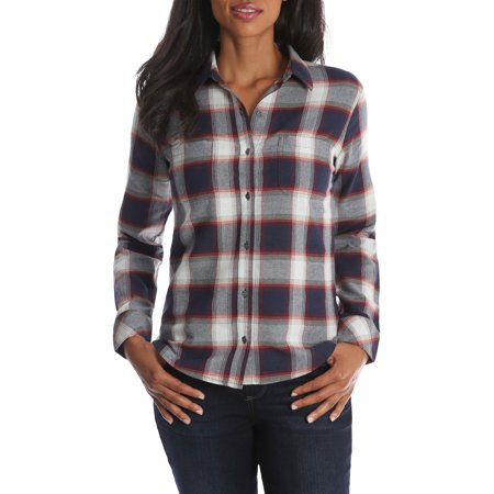 - Women's Long Sleeve Plaid Flannel Shirt