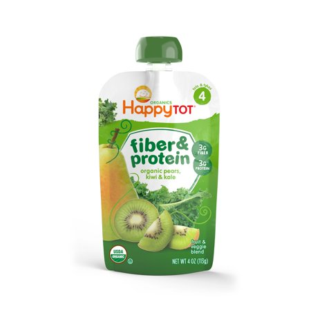 - Happy Tot Fiber & Protein Organic Toddler Food, Stage 4 Pear, Kiwi & Kale, 4 Oz