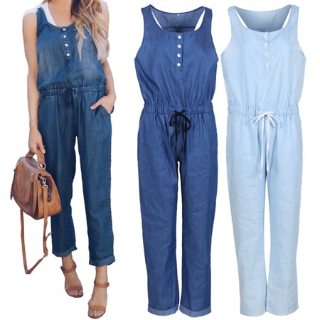 Women Sleeveless Solid Jumpsuit Romper Casual Clubwear Slim Fit Long Pants Outfits Blue S](Blue Jumpsuit)