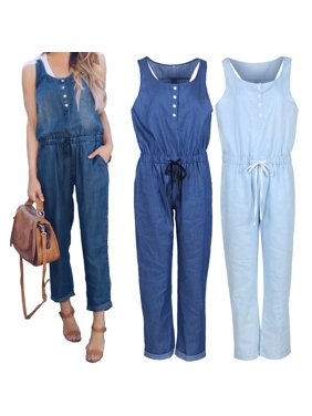Women Sleeveless Solid Jumpsuit Romper Casual Clubwear Slim Fit Long Pants Outfits Blue S