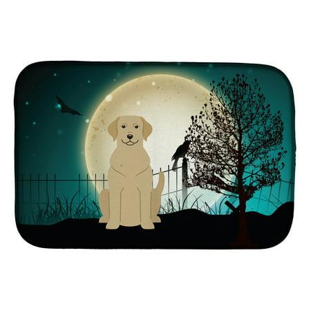 Halloween Scary Yellow Labrador Dish Drying Mat - Labrador Halloween Pics