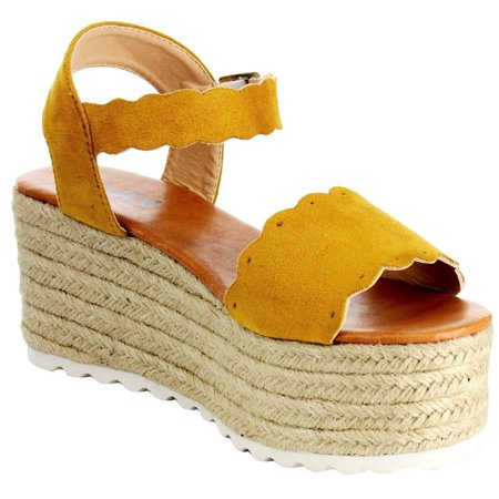 Emma-23 Mary Jane Espadrille Platform Wedge Flatform Open Toe Sandal Mustard ()
