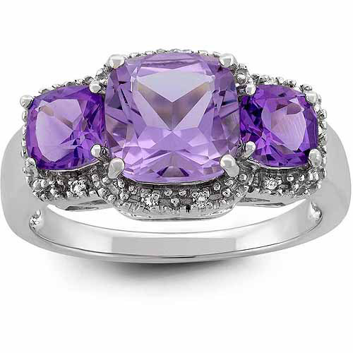 Cushion Cut Amethyst and White Topaz Sterling Silver 3-Stone Ring
