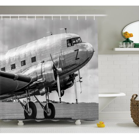 Vintage Airplane Shower Curtain Old Airliner Cockpit Antique Engine Propellers Wings And Nostalgia Image Fabric Bathroom Set With Hooks Grey Black