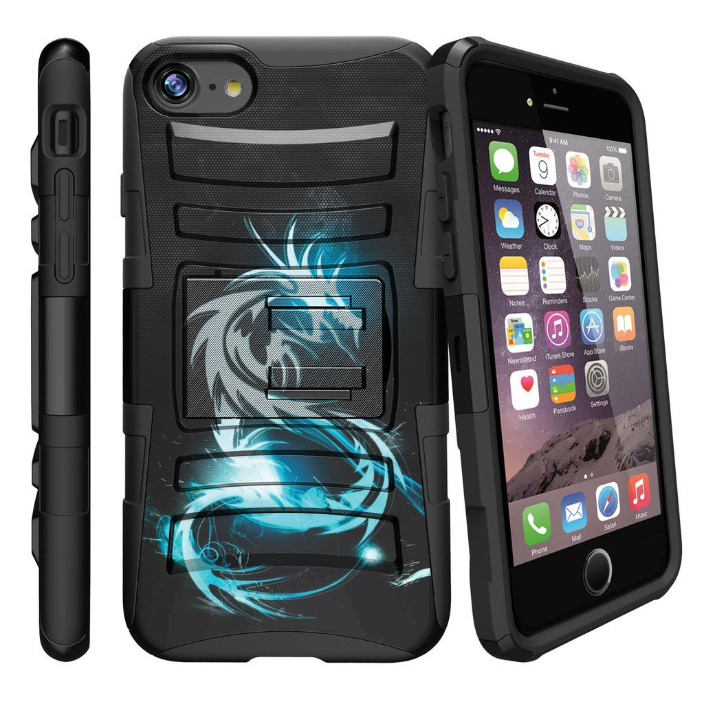 "Apple iPhone 7 Case | iPhone 7 4.7"" Case [ Clip Armor ] Rugged High Impact Defense Case with Built in Kickstand + Holster  - White Dragon"