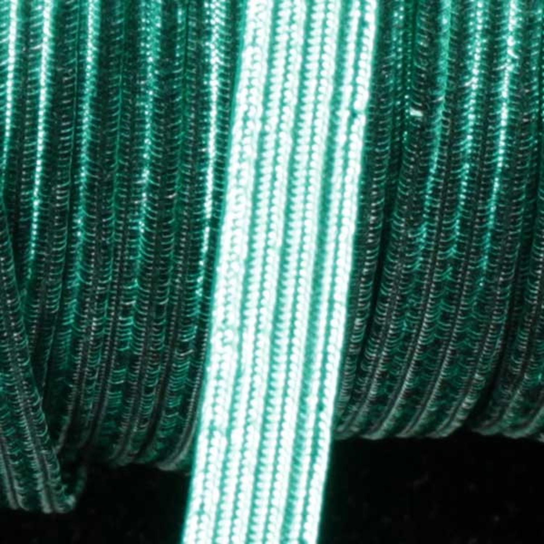 "Metallic Green Braided Elastic Trim .25"" x 108 Yards"