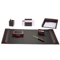 Rosewood & Leather 7-Piece Desk Set