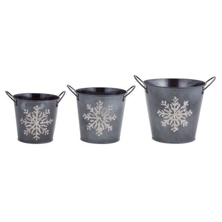 Set of 3 Gray and Silver Colored Glittered Christmas Snowflake Buckets ()