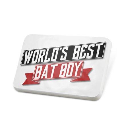 Porcelein Pin Worlds Best Bat Boy Lapel Badge –