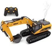 Top Race 23 Channel Full Functional Remote Control Excavator Construction Tractor, Full Metal Excavator Toy Can Carry up to 110 Lbs, Digging Power of 1.1 Lbs Per Cubic Inch, Real Smoke, TR-211M