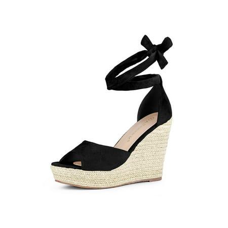 f5d5298feab7 Women s Espadrilles Tie Up Ankle Strap Wedge Sandals Black (Size ...