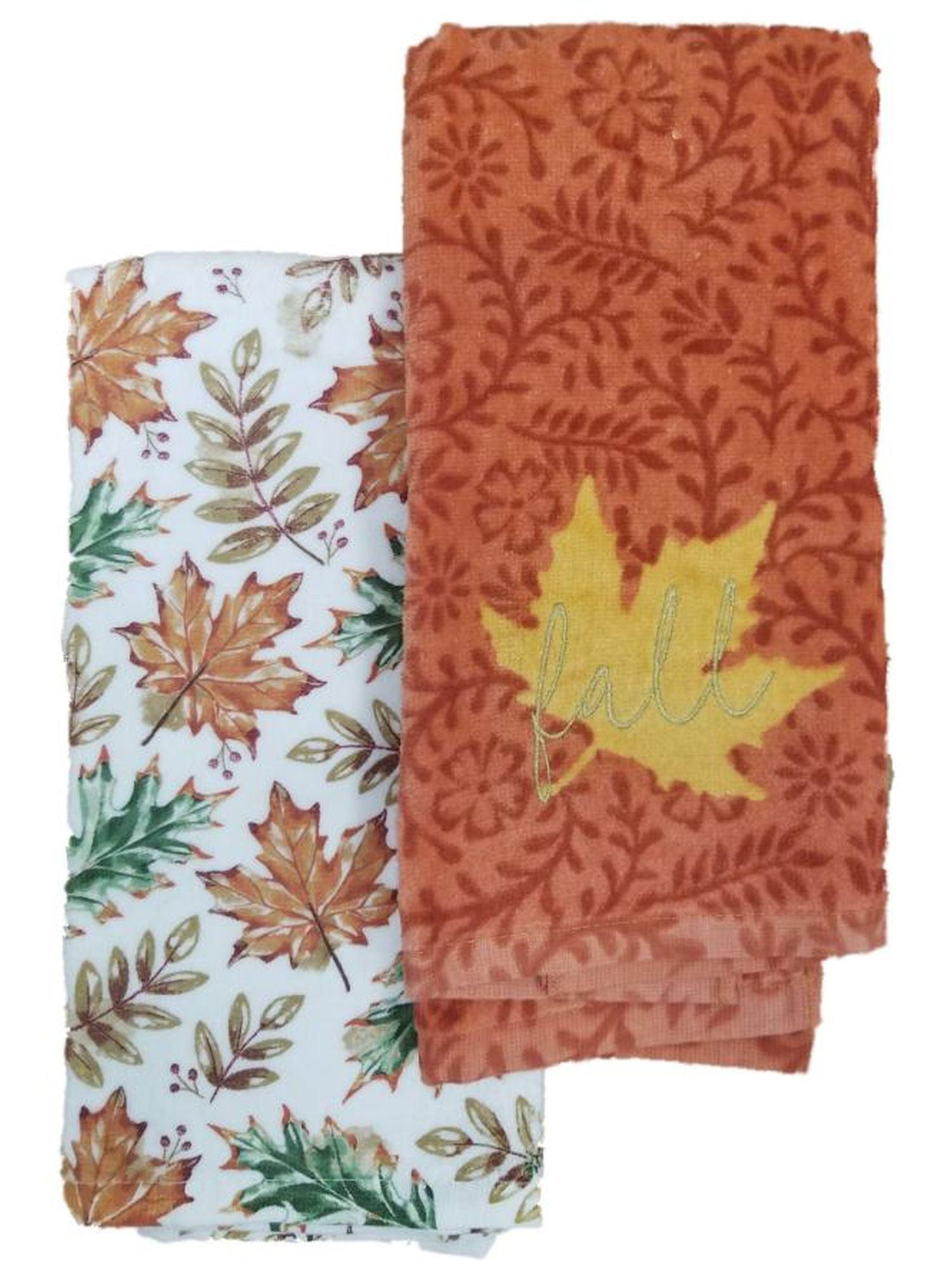 Harvest Season Fall Leaves Embroidered Autumn Kitchen Towel Set 2 Dish Towels Walmart Com Walmart Com