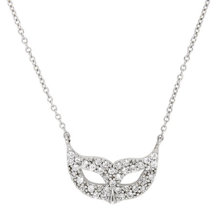 Sterling Silver Cubic Zirconia Masquerade Mask Pendant Necklace