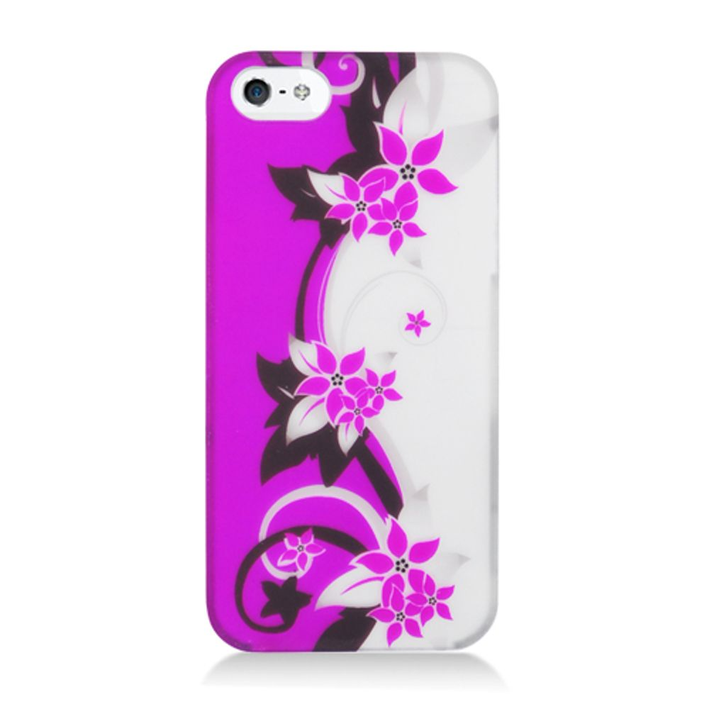 iPhone 5S Case, iPhone SE Case, by Insten Vine Flower Rubberized Hard Snap-in Case Cover For Apple iPhone SE / iPhone 5S / iPhone 5, Hot Pink/Silver - image 1 of 3