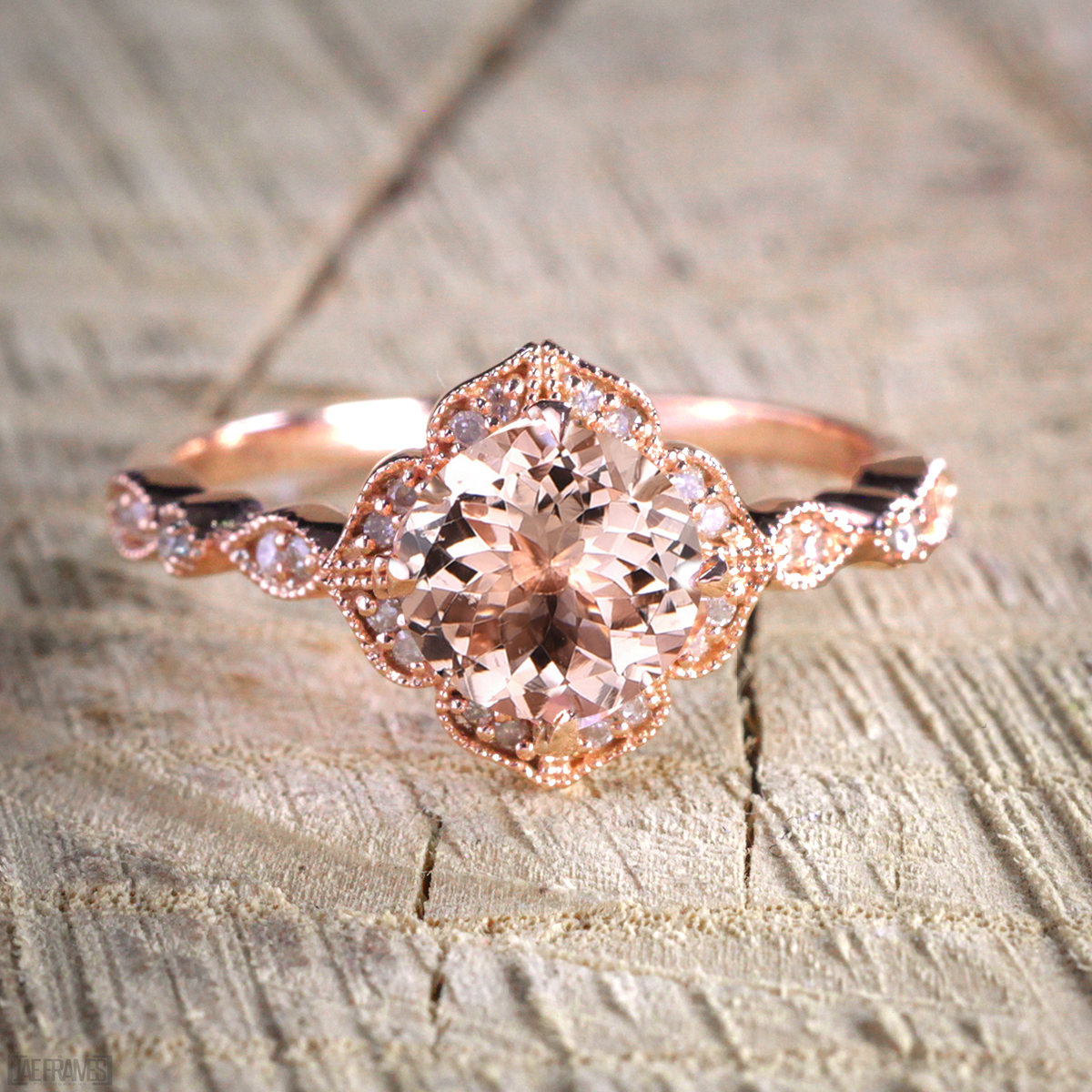 Antique Design 1.25 Carat Peach Pink Morganite (Round Shaped) and Diamond Engagement Ring in 14k Rose Gold Jewelry by JeenMata