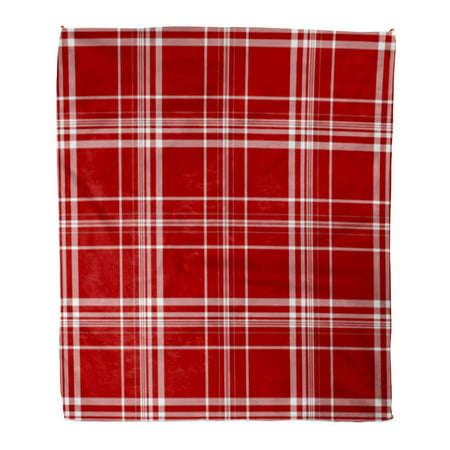 SIDONKU 50x60 inch Super Soft Throw Blanket Autumn Red White Plaid Bright Cabin Check Checkered Christmas Cottage Country Home Decorative Flannel Velvet Plush Blanket ()