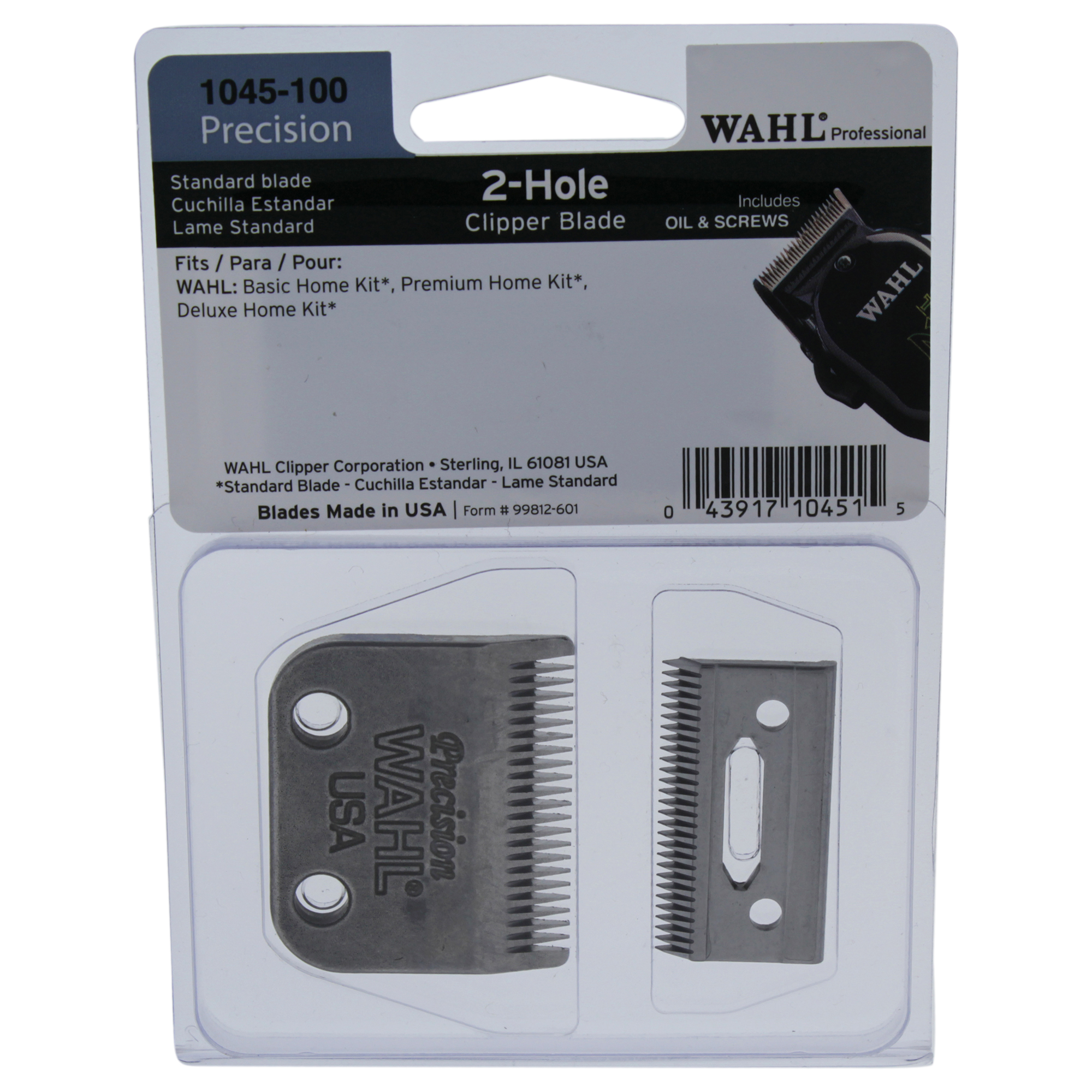 WAHL Professional 2-Hole Precision Clipper Blade - Model # 1045-100 - 1 Pc Clipper Blade