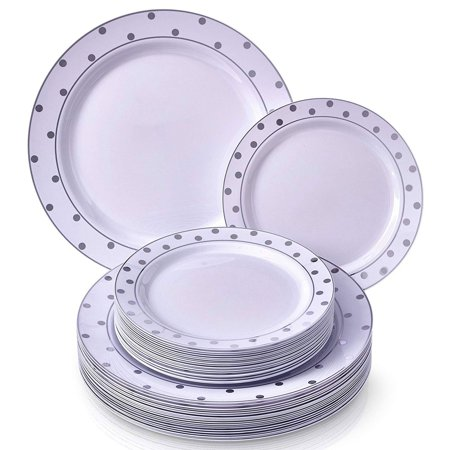 Elegant Disposable Plastic Dinnerware Set 120 Dinner Plates And Salad Durable Dishes Charming Dots Silver