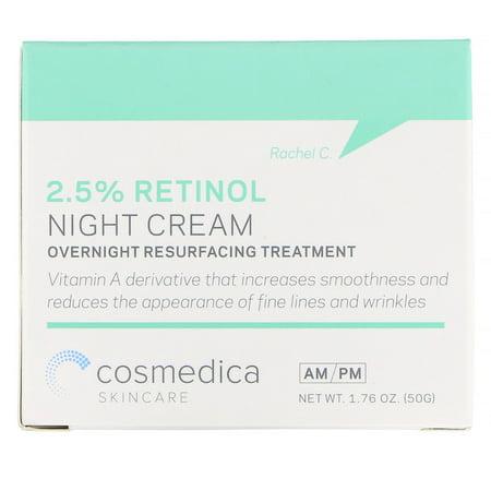 Cosmedica Skincare  2 5  Retinol Night Cream  Overnight Resurfacing Treatment  1 76 oz  50