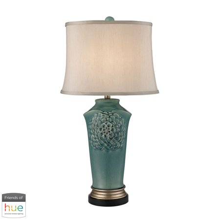 Organic Flowers Table Lamp in Seafoam Finish - with Philips Hue LED Bulb/Dimmer - Organic Gold Finish