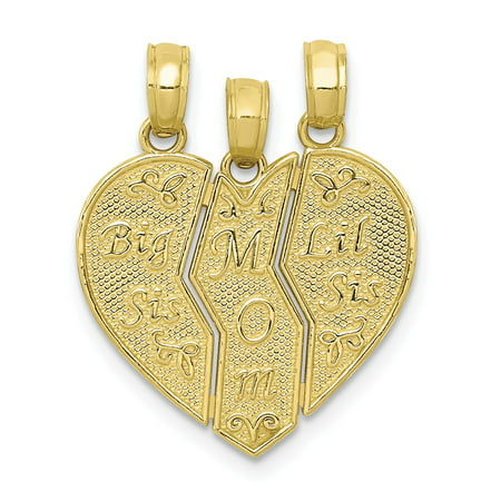 10k Yellow Gold Break-apart Big Sis, Mom, Lil Sis Charm
