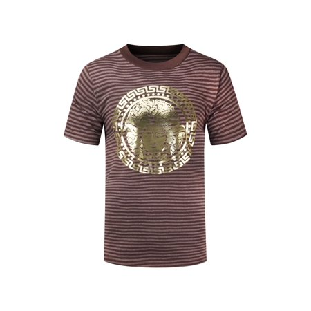 Stripes Tin (NEW Men Medusa Striped Gold Foil Shirt Sizes S-3XL Short Sleeve 3 Colors )