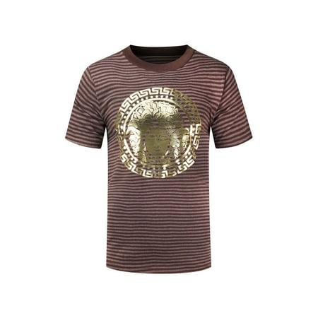 NEW Men Medusa Striped Gold Foil Shirt Sizes S-3XL Short Sleeve 3 Colors