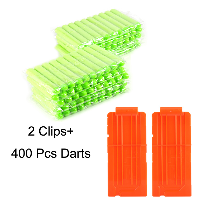 HURRISE 400 Pcs Foam Darts Refill Bullet and 2 Pcs Plastic 12 Round Darts Quick Reload Clips for Nerf N-Strike