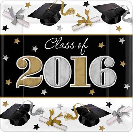 "Festive Grad 7"" Cake Plate (18 Count)- 2016 Graduation Party Supplies"
